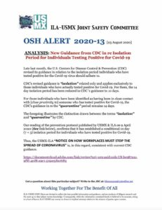 OSH Alert 2020-13 (CDC Guidance in re Reduction of Isolation Period)